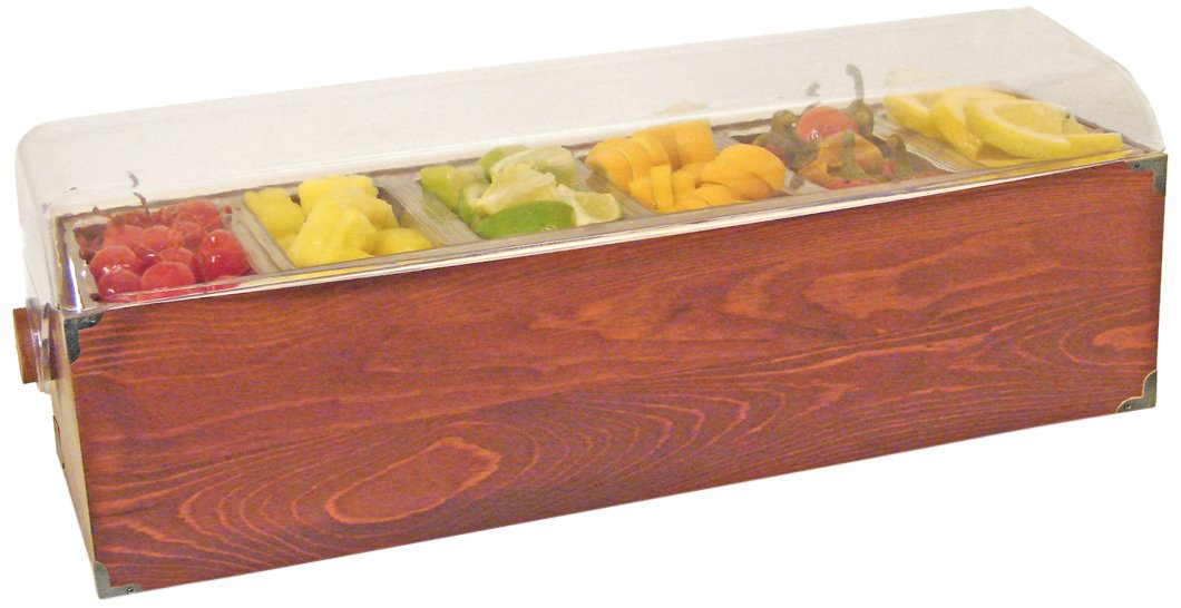 Co-Rect Roll Top Condiment Holder Hazel Wood Tray with Bracket, Wood