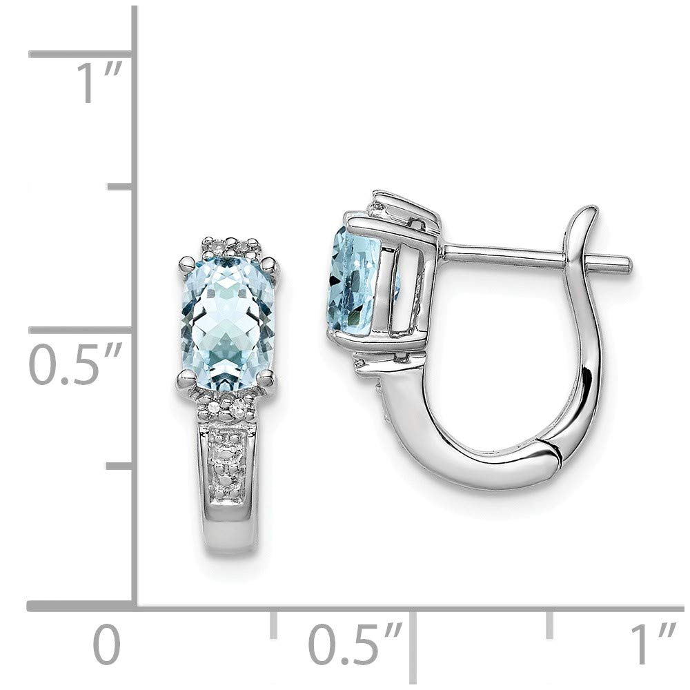 Mia Diamonds 925 Sterling Silver Solid .02cttw 14mm x 13mm Rhodium Plated Diamond Aquamarine Hinged Earrings