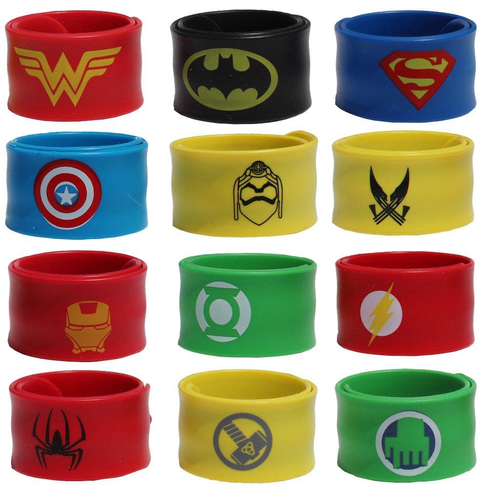 XKX Superhero Slap Bracelet for Kids Birthday Party, Pack Of 12
