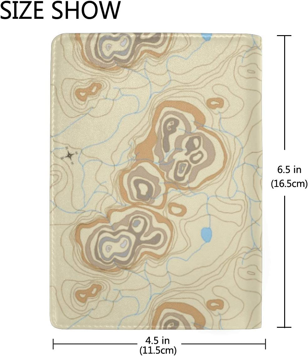 Brown Contour Map Compass Rose Passport Holder Wallet Cover Case Leather Travel Wallet ID Card Case
