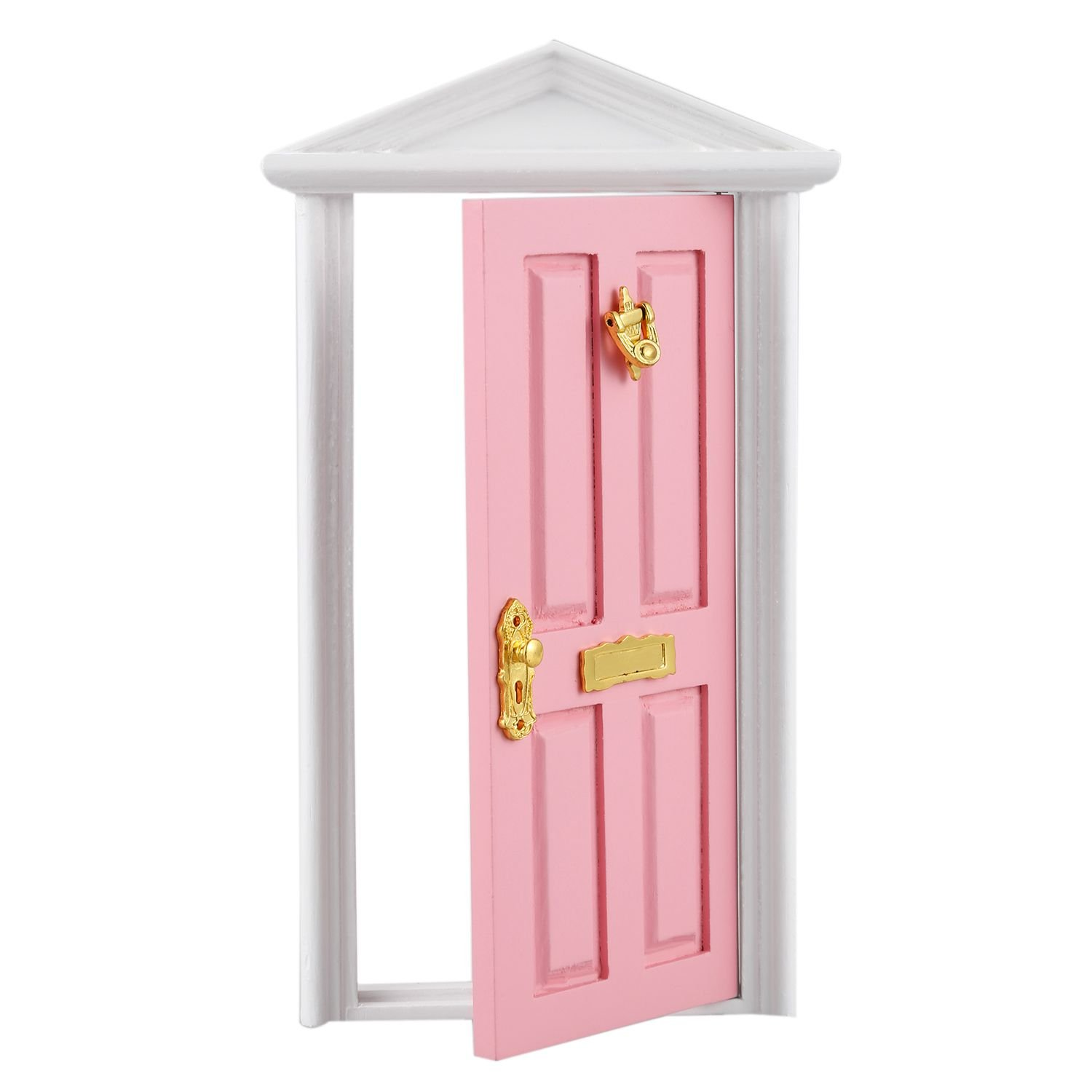 SODIAL Miniature Doll Houses Games Toys Wooden Door with Hardware - Pink 160152A1