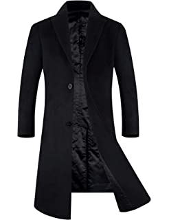 d262bac4dc2 Men s Winter Wool Blend Trench Coat Fleece Lining Top Coat Business Suits