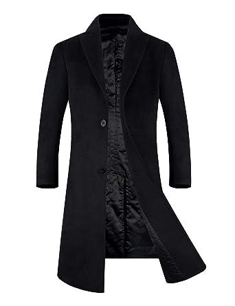 2ddce36a819d APTRO Men's Wool Blend Trench Coat Full Length Overcoat Fleece Lining Top  Coat (Black-