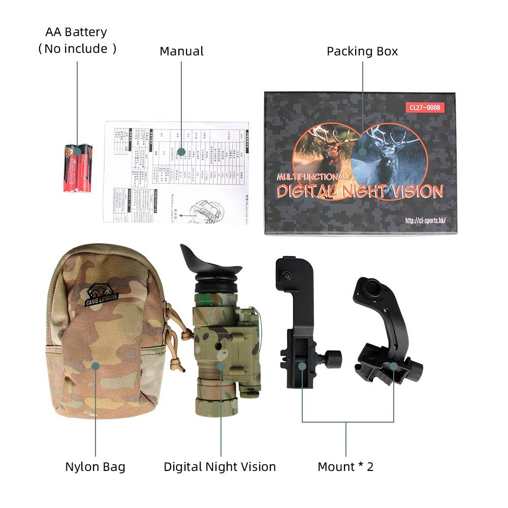 CANIS SPORT INC Digital Night Vision, PVS-14 IR Night Vision Monoculars with J-Arm for Helmet, Picatinny Rail Adapter, for Night Patrol Hunting Home Defense by CANIS SPORT INC