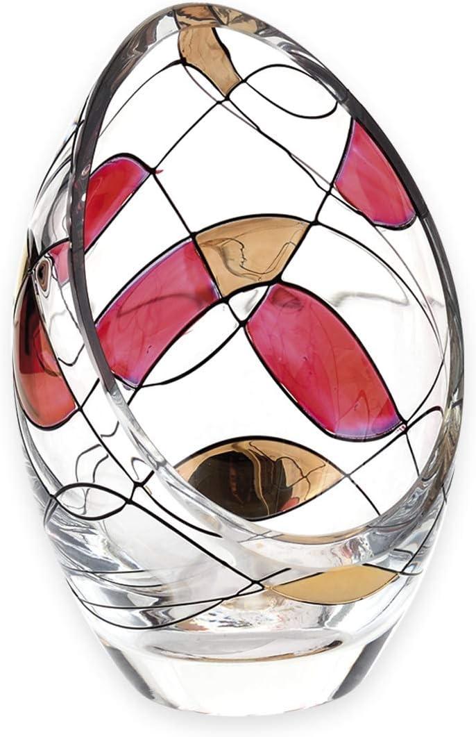 13 cm ideal para regalo de 40 aniversario de boda portavelas de mosaico Ruby portavelas Soplado de boca//cristal decorado a mano