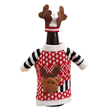 ThinIce 3Pcs Christmas Wine Bottle Knitted Ugly Sweater ...