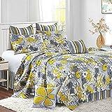 Virah Bella Reversible Stripe and Flower 5 Piece Quilt,Sham, and Throw Pillow Set (Vivaan, Queen/Full)