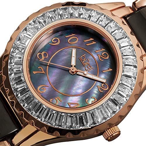 Burgi Women's BUR066BKR Ceramic Bracelet Baguette Quartz Watch