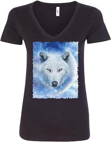 Wolf Head Paisley Women/'s V-Neck T-Shirt Animals Wildlife Howl Predator Wolves