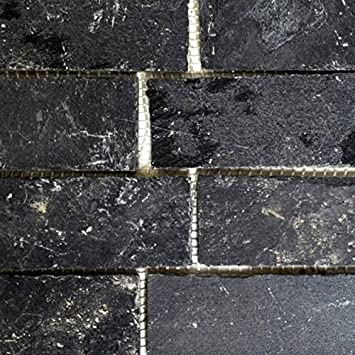 Mosaik Fliese Schiefer Naturstein Brick Anthrazit Black Jack Für BODEN WAND  BAD WC DUSCHE KÜCHE FLIESENSPIEGEL