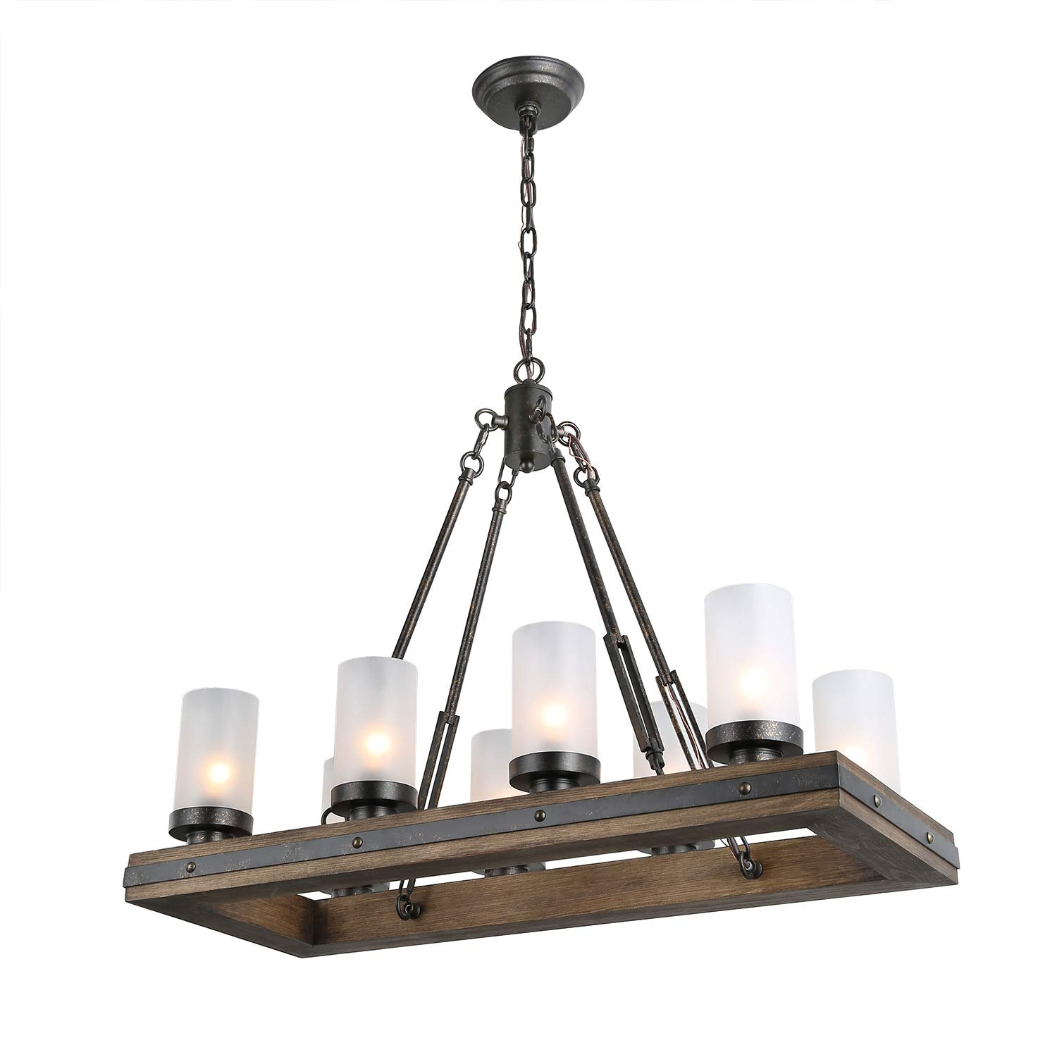 LNC Wood Island Light Rectangular Farmhouse Chandelier for Kitchen, Dining Room with 8 Frosted Glass Shades, Model A03487,