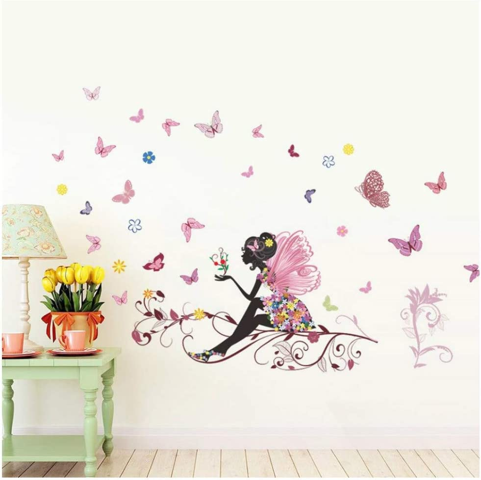Hallway Transser Removable Environmental Protection Waterproof Stickers Butterfly Flower Fairy Wall Sticker Living Room Decor for Girls Bedroom Pink Room