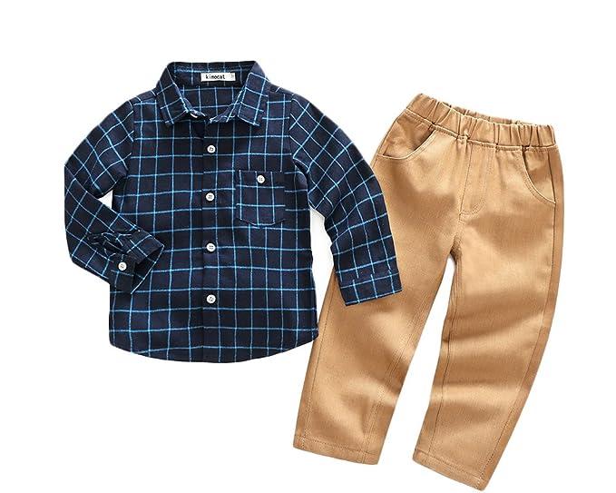 Niño Simple Y Transpirable Conjunto 2 Piezas Blusa Cuadros Manga Larga Y Pantalone Armada 100