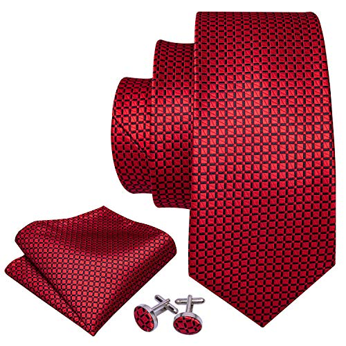 YOHOWA Men Red Ties Solid Silk Tie and Pocket Square Cufflinks Set for Wedding Party Tuxedo