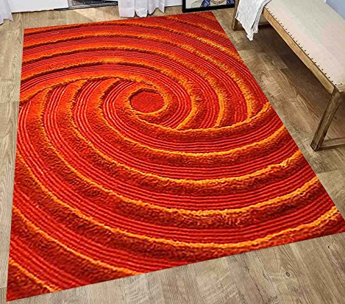 Shag Shaggy 3D Fluffy Fuzzy Furry Orange Two Tone Color Indoor Modern Living Room Area Rug Carpet Anti Skid Dining Room Living Room Floor Cheap Sale 8-Feet By 10-Feet Sale Cheap ( Exotic 252 Orange )