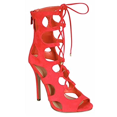Women Strappy Gladiator Zipper Lace Up Caged Stiletto High Heel Sandal