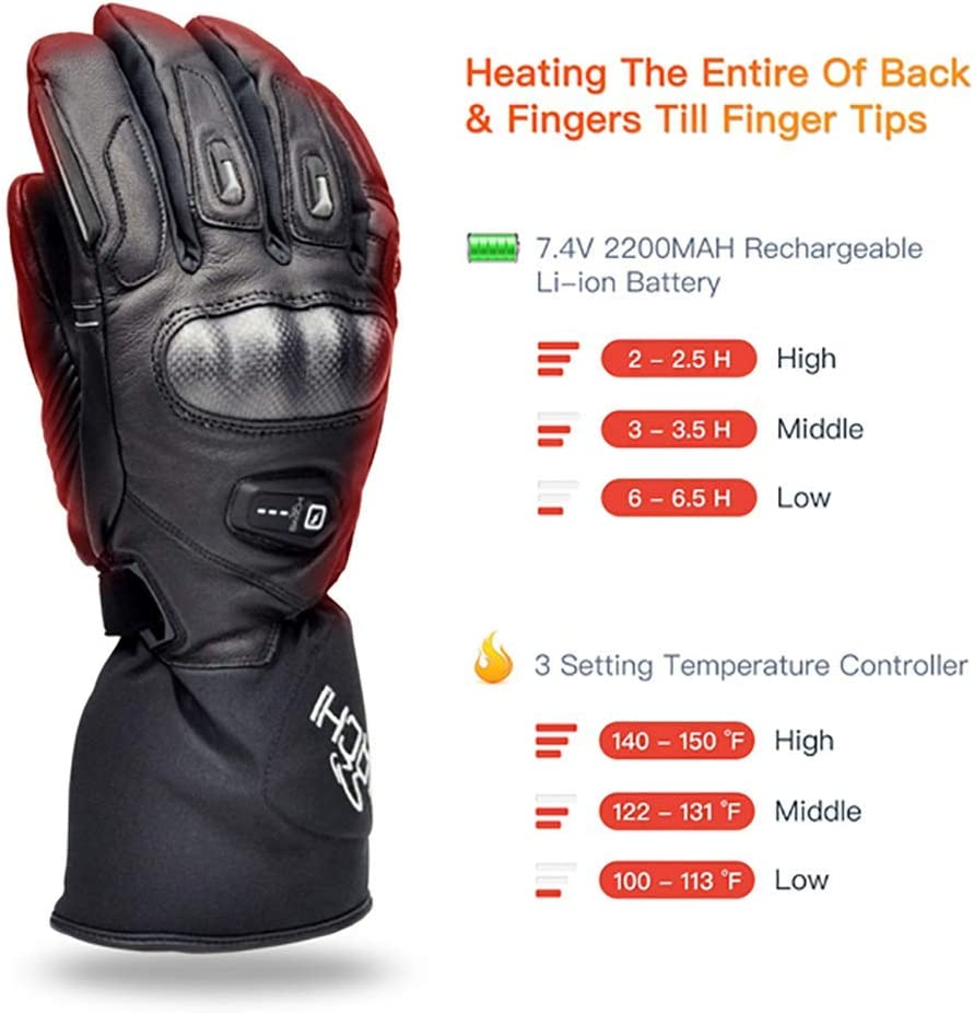 BARCHI HEAT 12V 7.4V Hard Knuckle Heated Gloves,Electric Rechargeable Battery Car Motorcycle Charging Heated Gloves for Snow Skiing Ice Skating Riding Motorcycle