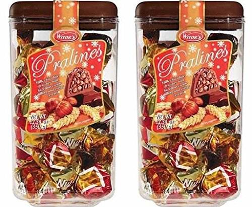 Milk Praline (Witor's Golden Pralines Italian Milk Chocolate Crispy Kugels with Hazelnut Cream Center, 2 Pack)