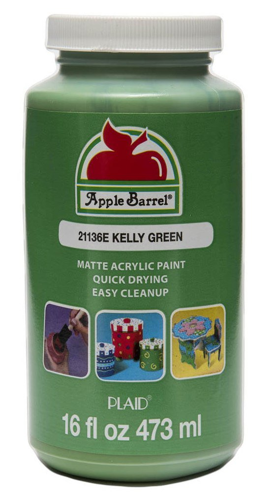 Apple Barrel Acrylic Paint in Assorted Colors (16 Ounce), 21136 Kelly Green Plaid Inc decoart crayola painting hobby crafty