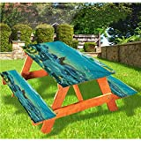 Cartoon Picnic Table and Bench Fitted Tablecloth