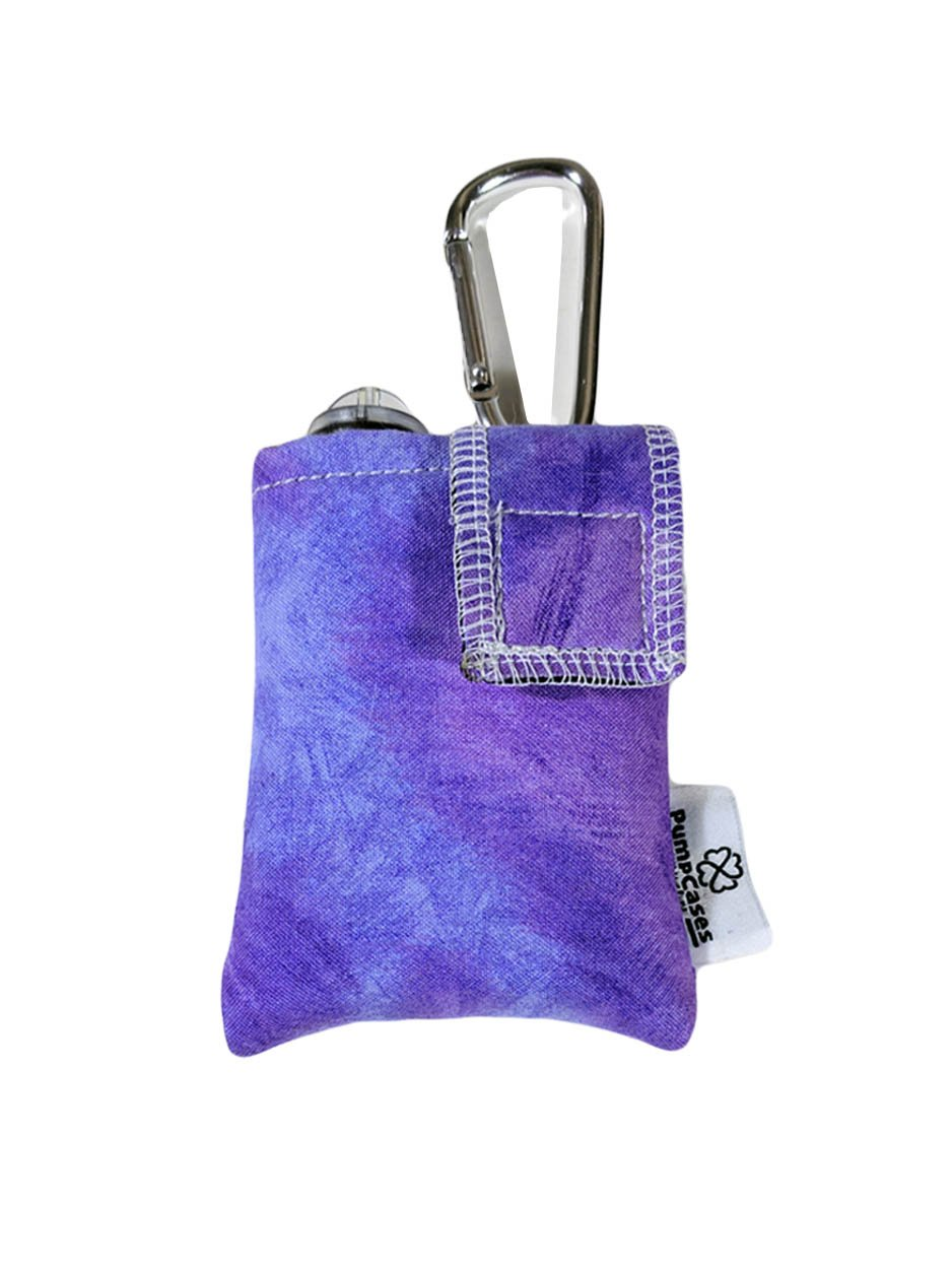 PumpCases Designer Insulin Pump Case w/Carabiner Clip (t:Slim, Purple Water-Color)