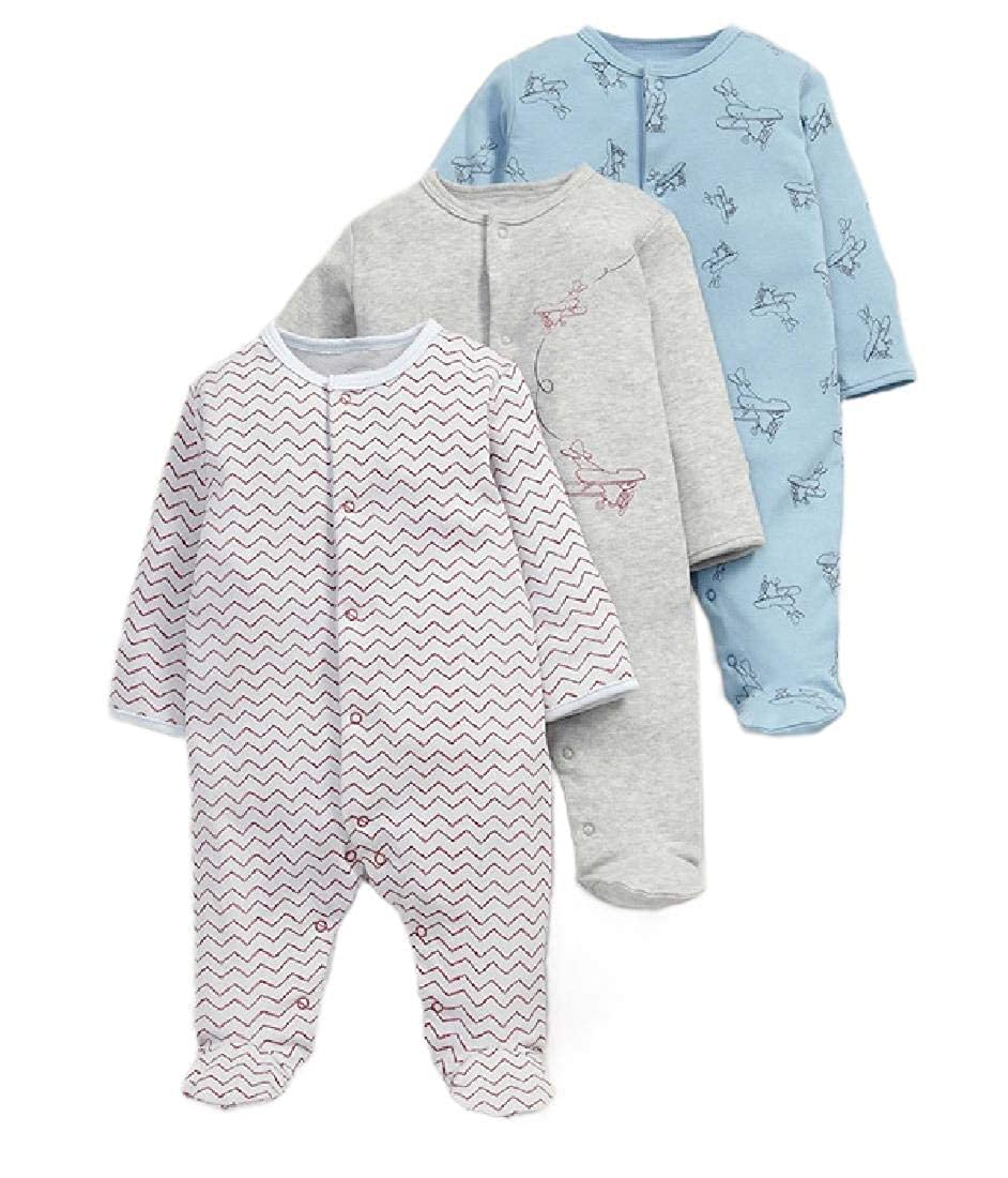 SportsX Infant Newborn Toddler Baby Girls Long-Sleeve 3-Pack Fine Cotton Bodysuit