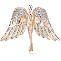 OUDUO Women's Artificial Crystal Angel Wing Brooch Pin Jewelry Gold