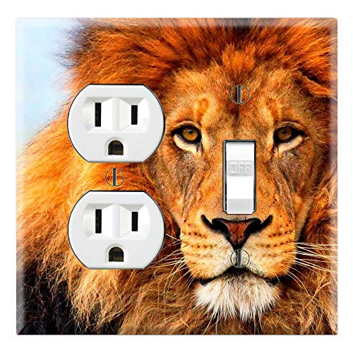 Graphics Wallplates - Wildlife Male Lion Mane - Outlet Toggle Combo Wall Plate Cover