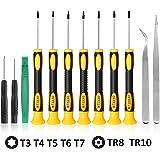 Newseego トルクスドライバーセットT3 T4 T5 T6 T7 T8 T10スタードライバー付きスクリュードライバーセット、電話/Mac/コンピューター修理用 修理ツール ピンセット ヘラ付き (12pcs)