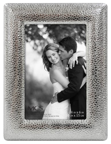 MCS 4x6 Inch Hammered Metal Frame, Silver (47533) -