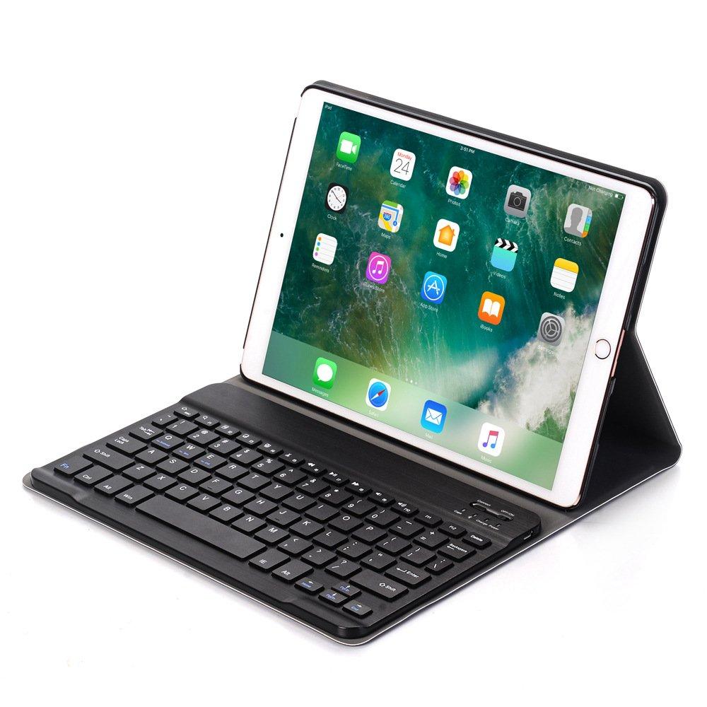 iPad Pro 10.5ヘブライ語キーボードケース、dtbak Detachable RecharegableワイヤレスBluetoothキーボードスマートスリムフォリオスタンドPUレザーケースカバー ブラック DT-A09 B078NFQLFH ブラック