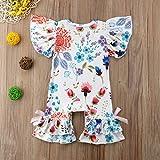Baby Girls Butterfly Sleeve Bodysuit Ruffle Romper