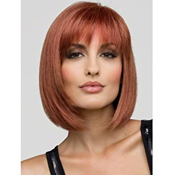 YZ-YUAN Peluca Corta Bob Postizo Frontal De Encaje Peluca Sintética Rosa Peinado Resistente Al
