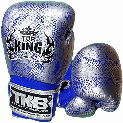 TOPKING ボクシンググローブ 本革製 スネーク 銀/青  16oz