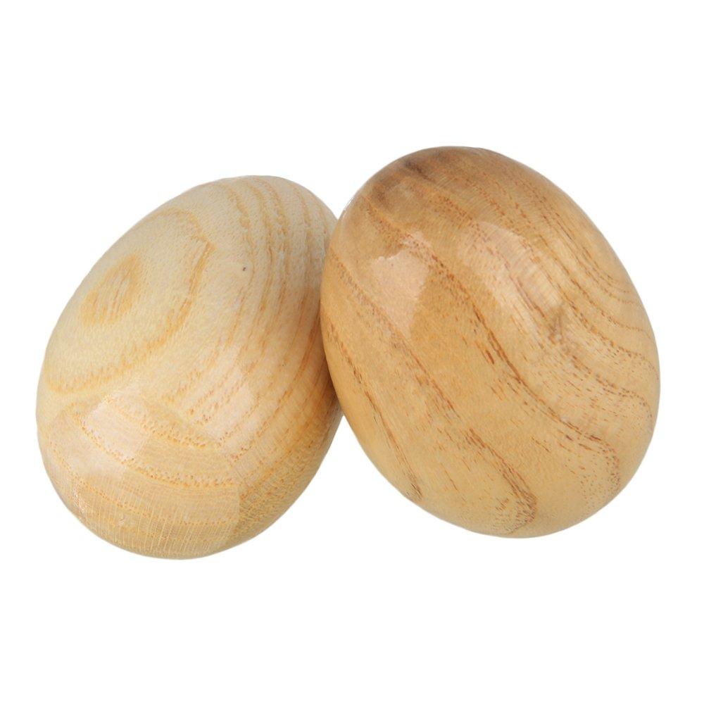 Yibuy Burlywood Musical Instrument Wooden Egg Shakers Rhythm Rattle for Musical Educational Toys Pack of 2 etfshop Yibuy68