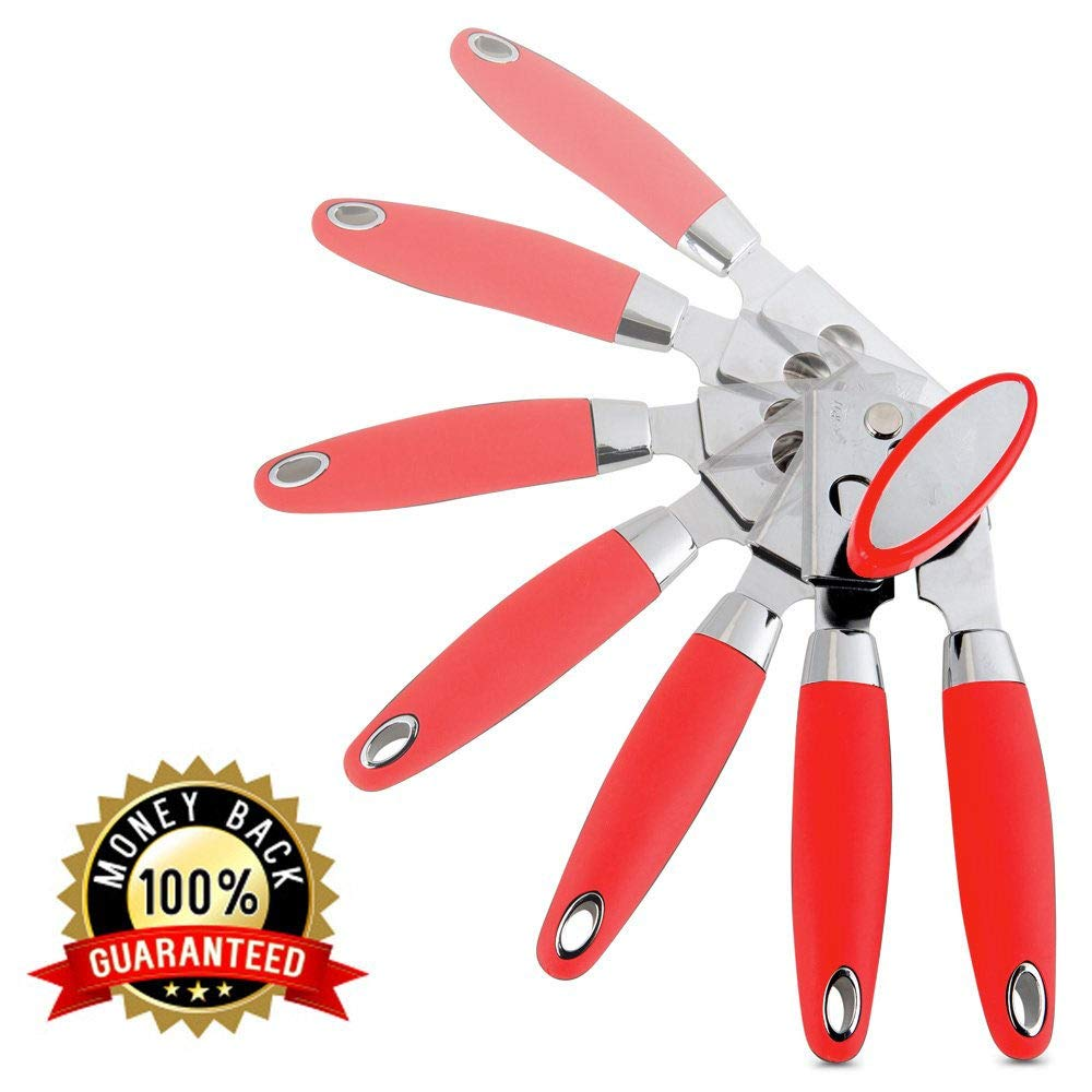 Vsireky Can Opener Manual Stainless Steel-NO Rust Sharp Blade+Lid Lifter Magnet.Soft Hand Grip-Silicone Handle, Heavy Duty Cans Openers, Smooth Edge by Vsireky