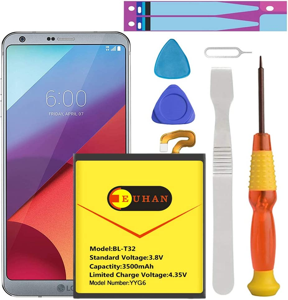 LG G6 Battery, Euhan 3500mAh Li-Polymer Battery BL-T32 Replacement for LG G6 (H870 H871 H872 LS993 VS998) with Repair Screwdriver Tools   LG G6 Battery Replacement Kit [ 1 Year Warranty]