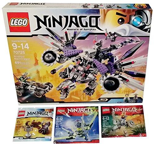 Lego Ninjago Construction Set Bundle   Nindroid Mechdragon  70725    3 Polybag Mini Sets   Dareth Vs  Nindroid  The Cowler Dragon  30294    Anacondrai Battle Mech  30291   1 Pack Of Each