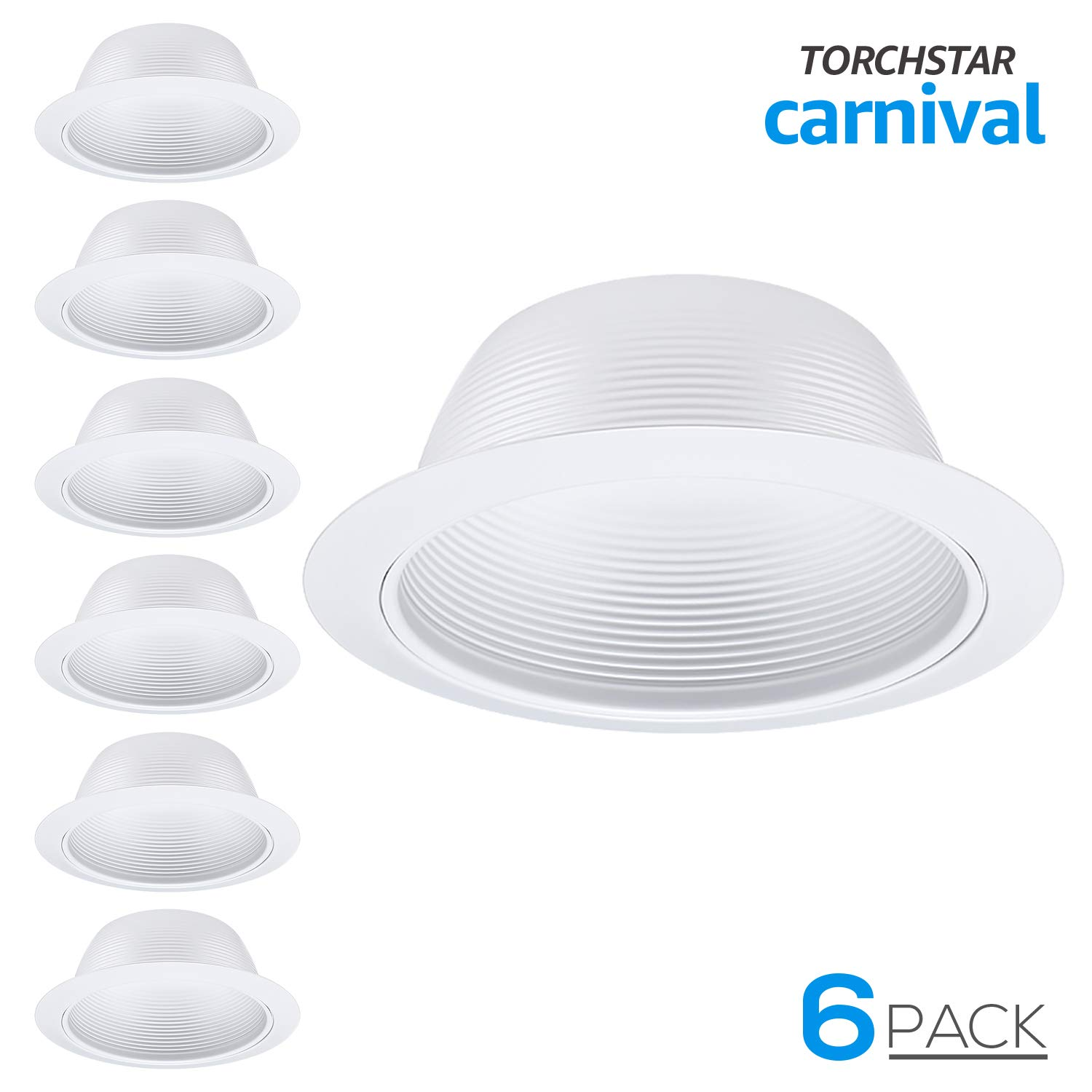 6 Pack 6 Inch Recessed Can Light Trim with White Metal Step Baffle, for 6 inch Recessed Can, Detachable Iron Ring Included, Fit Halo/Juno Remodel Recessed Housing, Line Voltage Available