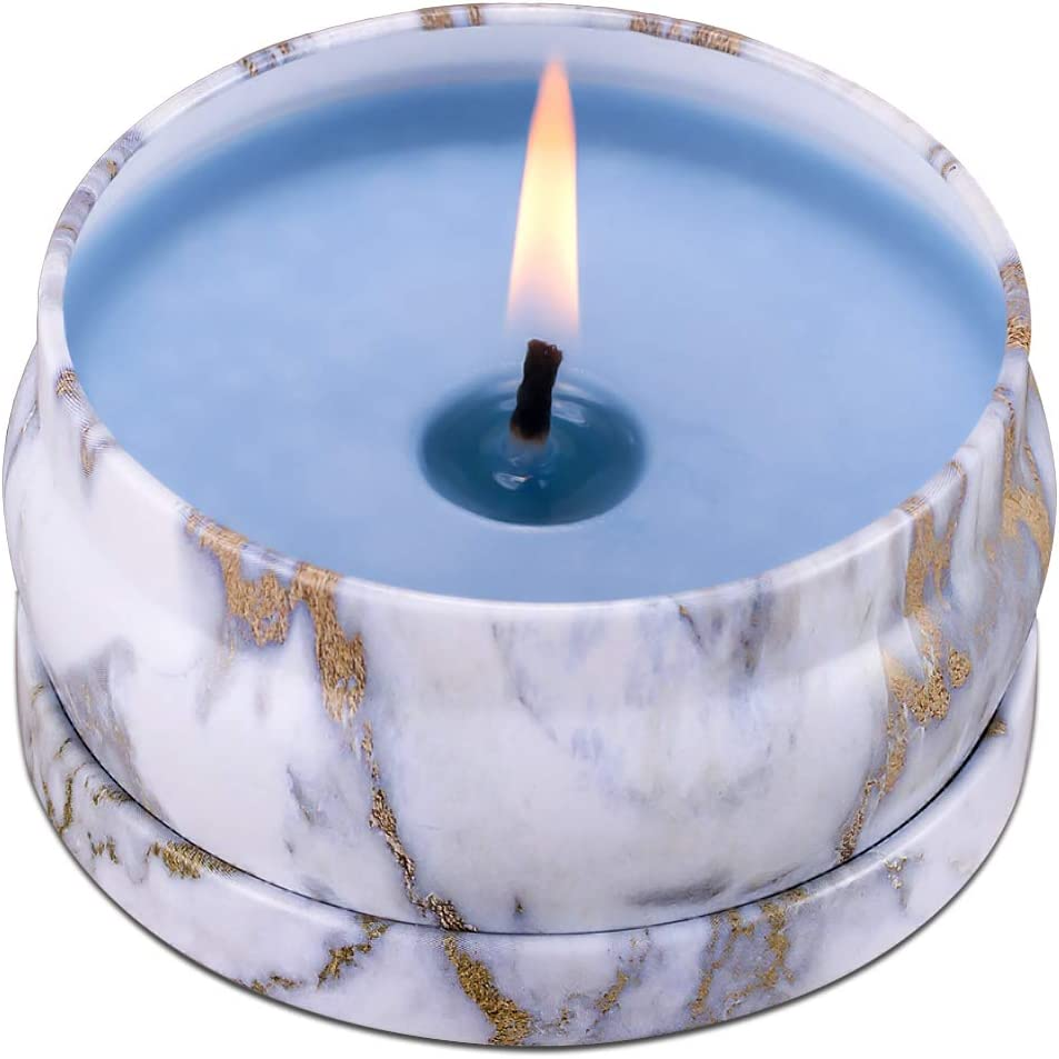 8.1oz Eucalyptus Scented Candles 45H Up Burning Time Big Travel Tin Soy Wax Candles to Create Mood & Enhance Atmospheres, Make Your Place Smell Really Good, Perfect for Stress Relief & Aromatherapy