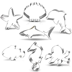 """Under the Sea Creatures Cookie Cutter Set-3.5""""3""""-7 Piece-Shark, Seastar, Seashell, Seahorse, Whale, Octopus, Fish Cookie Cutters Molds for Kids Birthday Party Supplies Favors."""