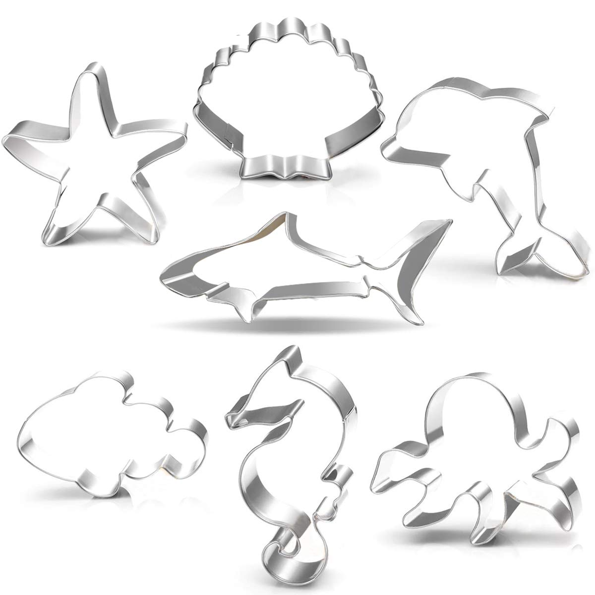 Under The Sea Creatures Cookie Cutter Set-3.5'' 3''-7 Piece-Shark, Seastar, Seashell, Seahorse, Whale, Octopus, Fish Cookie Cutters Molds Kids Birthday Party Supplies Favors.