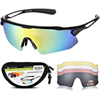 SNOWLEDGE Cycling Glasses with 5 Interchangeable Lenses and TR90 Frame, UV400 Sports Glasses for Men Women Cycling Climbing Fishing Driving