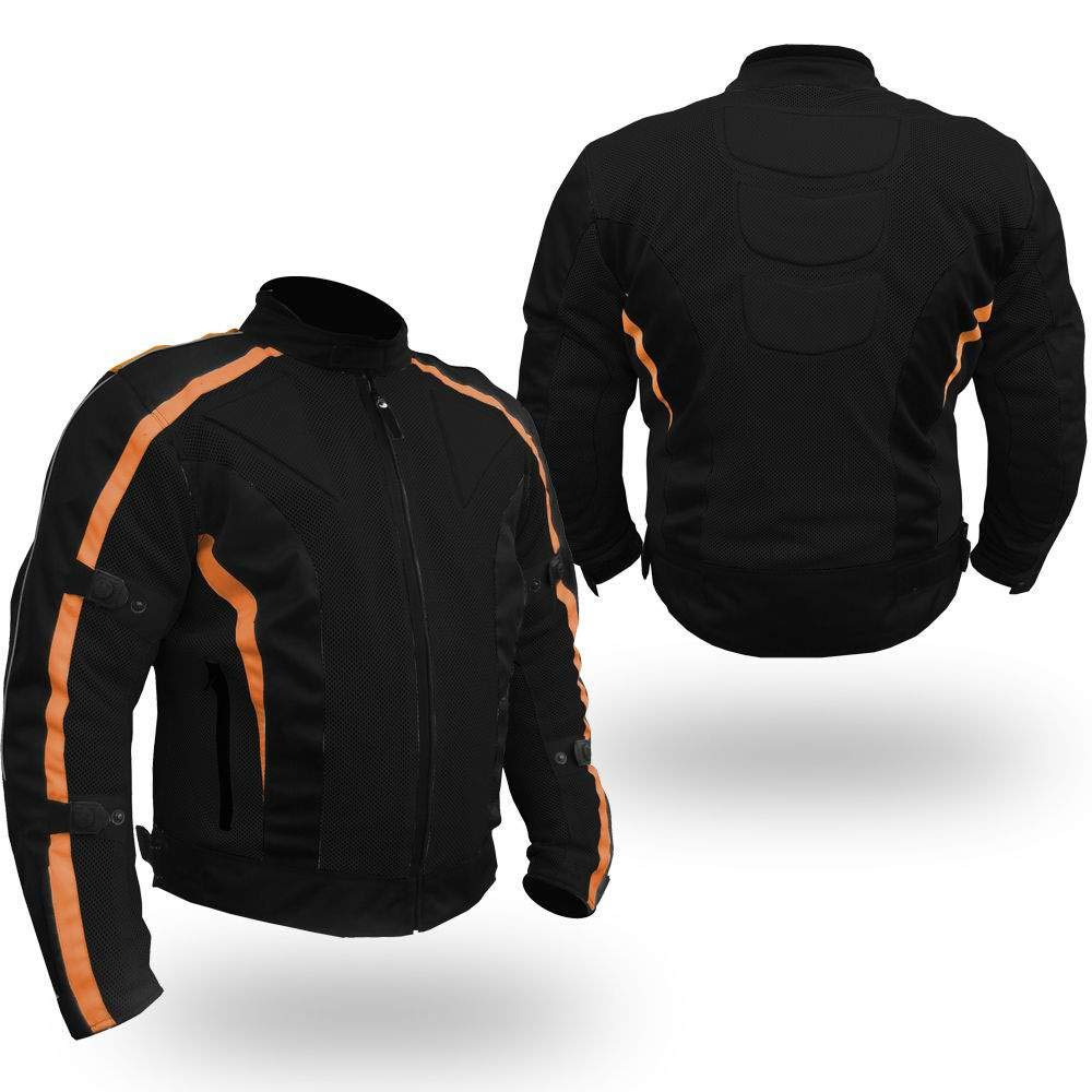 Bikers Gear Australia Negro Black // Orange 4XL Chaqueta de motocicleta