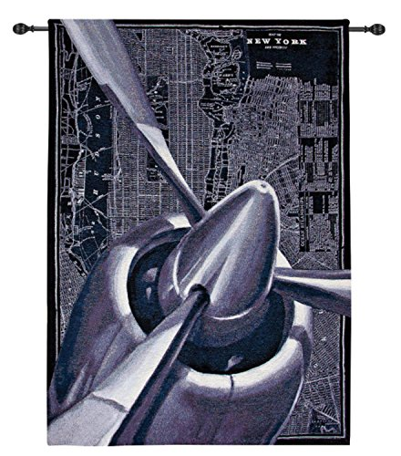 Manual Airplane - Manual Weavers Vintage-Style Airplane Cotton Woven Wall Art Hanging Tapestry 55
