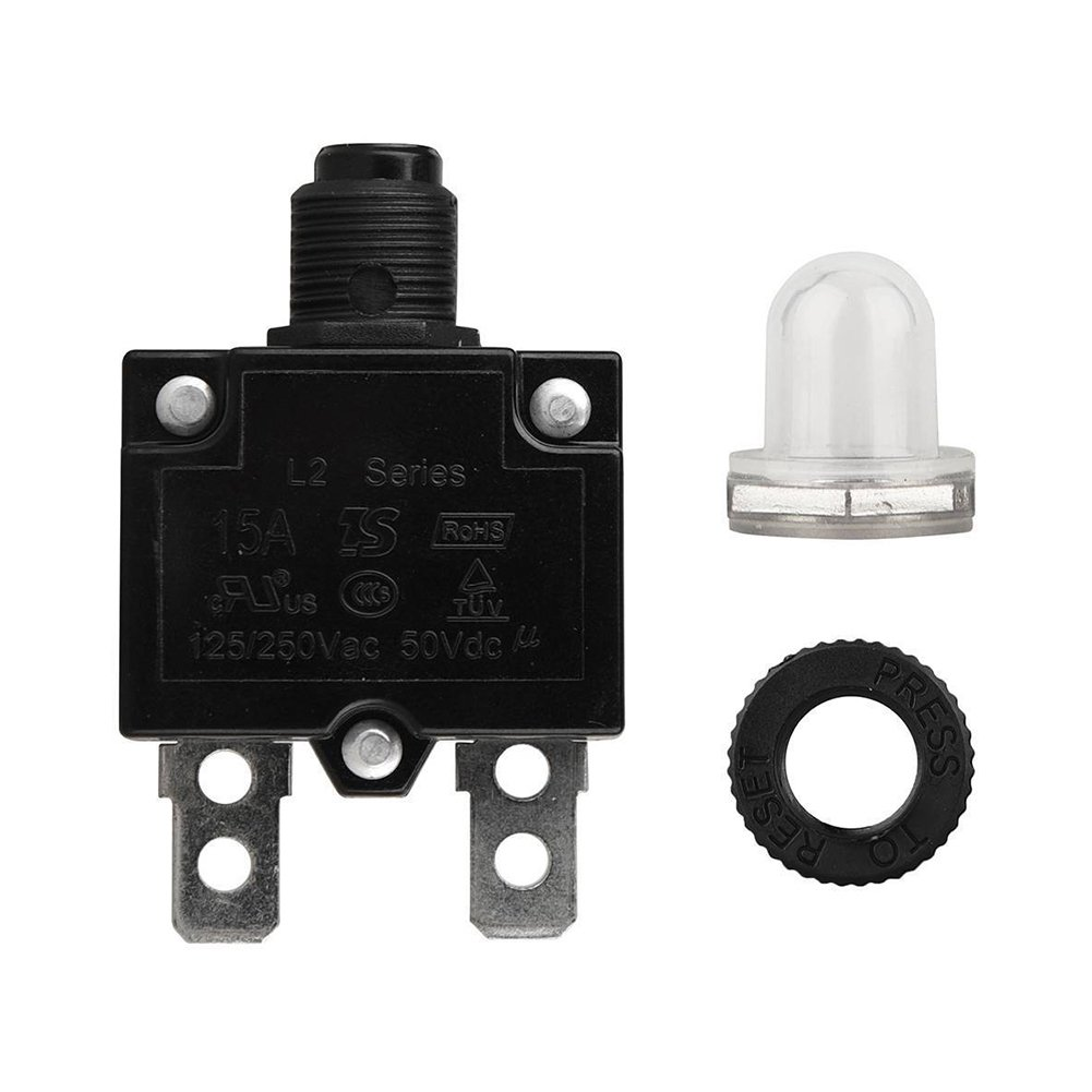 Tookie Interruptor de Circuito 5A//10A//15A//20A//30AMP reinicio Manual Resistente al Agua Bot/ón reajustable Circuito T/érmico Panel de Montaje 10a As Picture Show