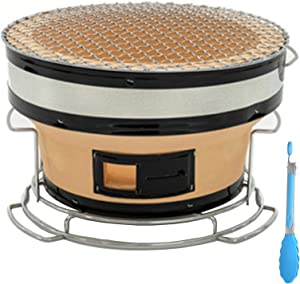 Japanese Ceramic Clay Charcoal Grill, Round Barbecue Yakatori Charcoal Grill Tabletop Charcoal Stove Hibachi Cooker with Food Tongs for Outdoor Indoor Camping