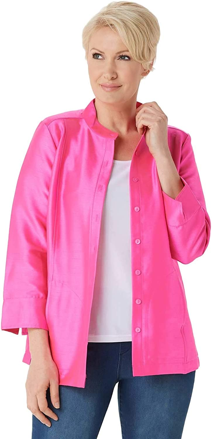 Linea by Louis Dell'Olio Womens Faux Shantung Band Collar Jacket 4 Pink A351115
