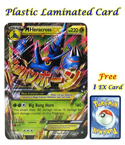 Mega EX Heracross (5/111) Plastic Laminated Cardwith Card Sleeve and Protected in Plastic Case Box with Free 1 EX Card.
