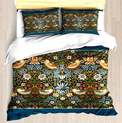 (NTCBED William Morris Pattern Birds and Flowers - Duvet Cover Set Soft Comforter Cover Pillowcase Bed Set Unique Printed Floral Pattern Design Duvet Covers Blanket Cover Queen/Full Size)